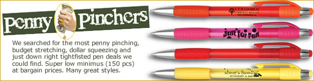 Penny Pincher imprinted promotional pen collection